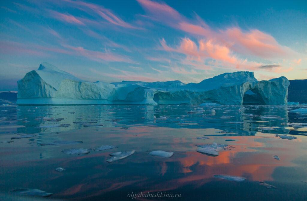 Рассвет, айсберг, Арктика, тур